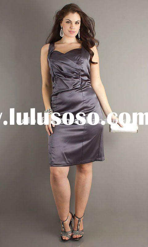Crazy Sale Gunmetal V-neck Ruched Knee Length Plus Size Dress
