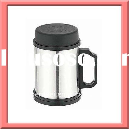 Double wall stainless steel coffee mug with lid