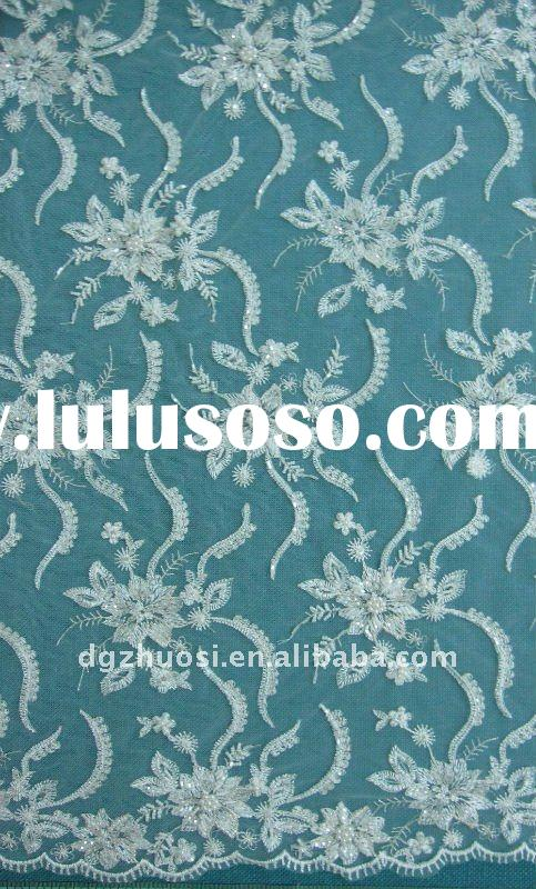 Embroidery wedding lace fabric for wedding dress P1652-B