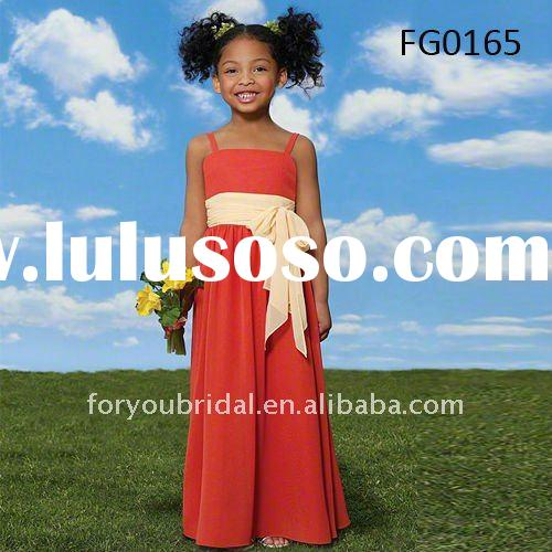 FG0165 Beautiful Chiffon Spaghetti Straps Flower Girl Dresses For Wedding