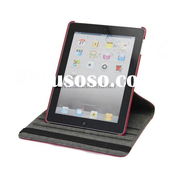 For The New iPad 360 Degree Swivel Leather Case, Stand Rotatable Leather Cover with Stylus Holder fo