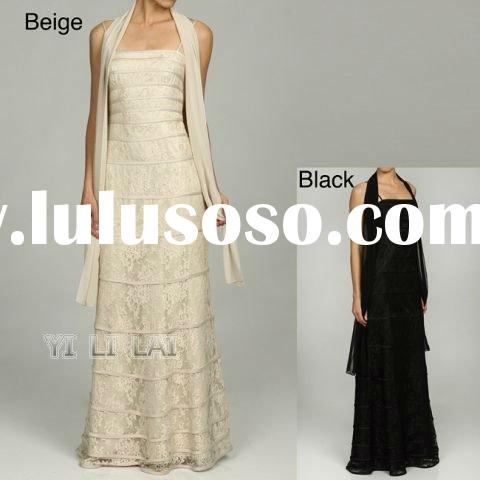 Formal Elegant Women's Spaghetti Strap Lace Overlay Ball Gown Evening Dress 2012