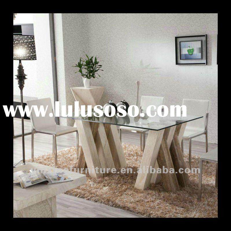 Glass and travertine marble dining table D1103