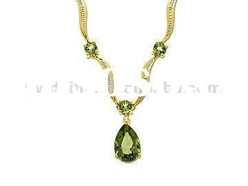 Green Diamond Necklace Designs/ Golden Women Necklace/Fashion Jewelry