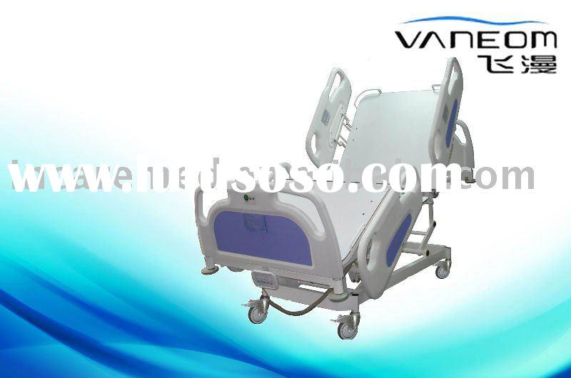 Height adjustable hospital bed with ABS side rail and head/foot board