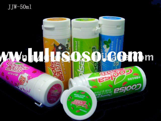 Hinger guard Closure tubes,chewing gum tube,plastic candy bottle