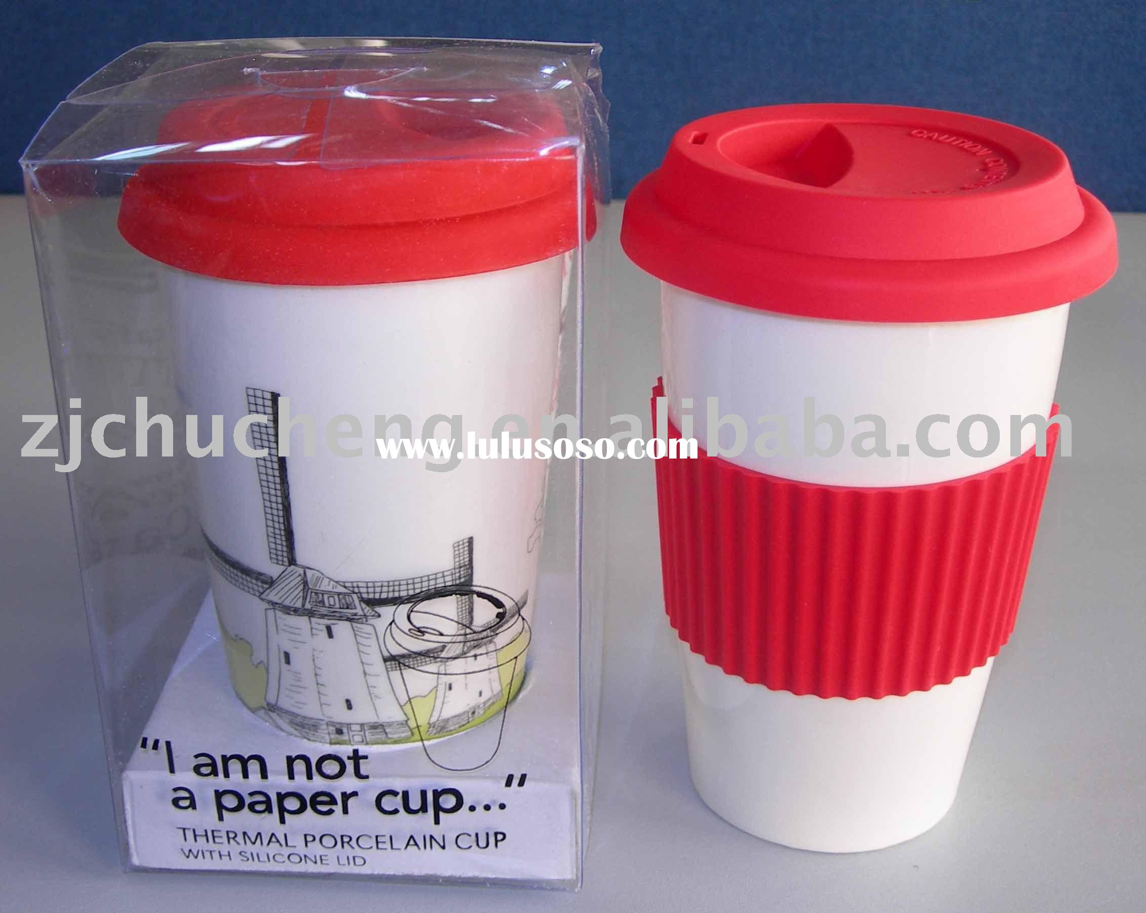 i am not a paper cup This eco cup or i am not a paper cup looks very much like those paper cups commonly used to serve premium coffee at starbucks or coffee bean however, it is definitely not a paper cup – the body is made of porcelain while the cover and grip is made of food grade silicone rubberized material.