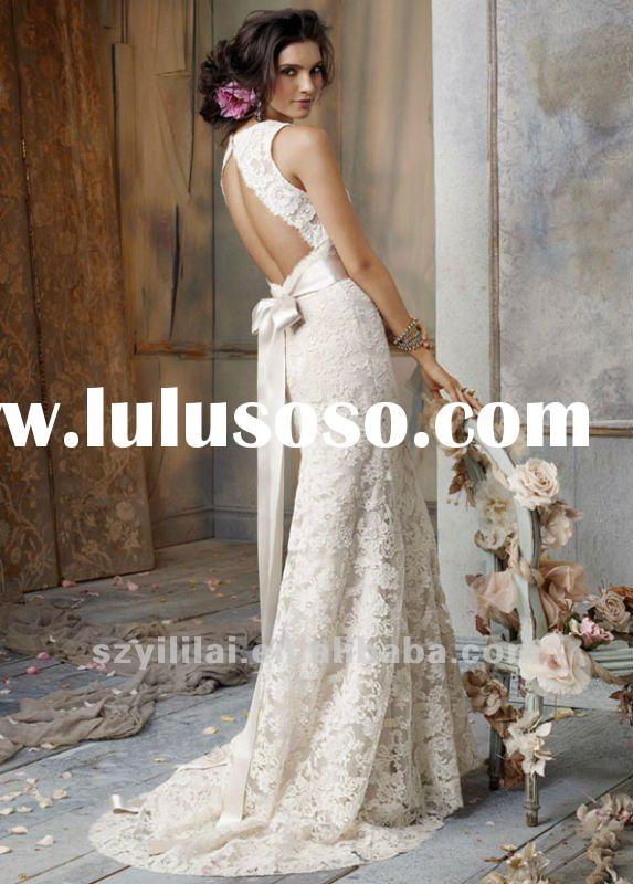 Ivory Lace Champagne Satin V-neckline Sleeveless Floor-length Hemline Sheath Wedding Dress