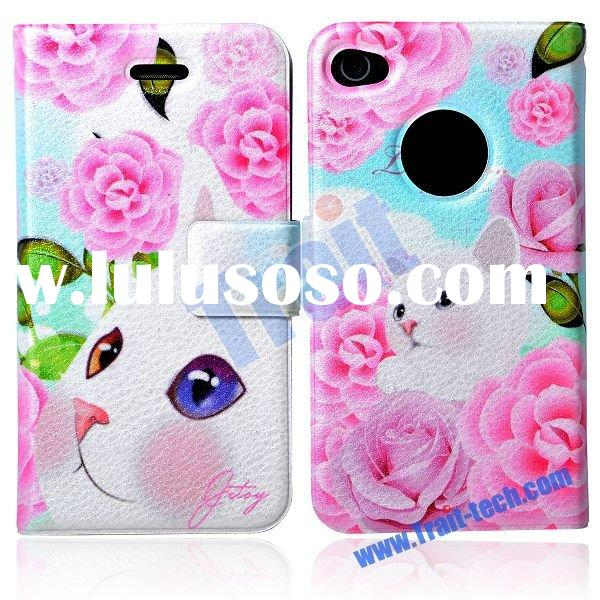 Jetoy Pink Rose Cat Flip Wallet Leather Case for iPhone 4