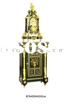 Luxury antique floor art clock(24K gold plated, made of wood & copper)