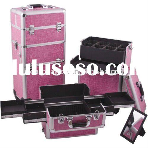 Makeup Artist Aluminum Rolling Cosmetic Train Case