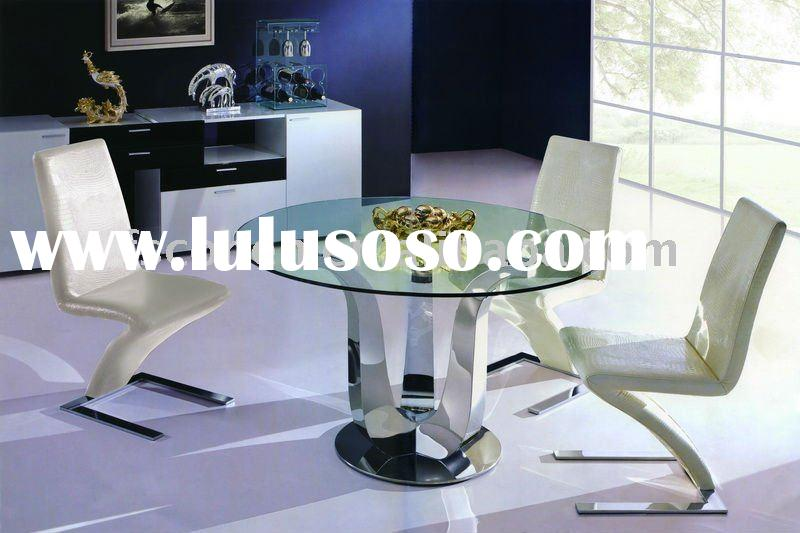 Modern Glass top Round Dining Table in living room furniture