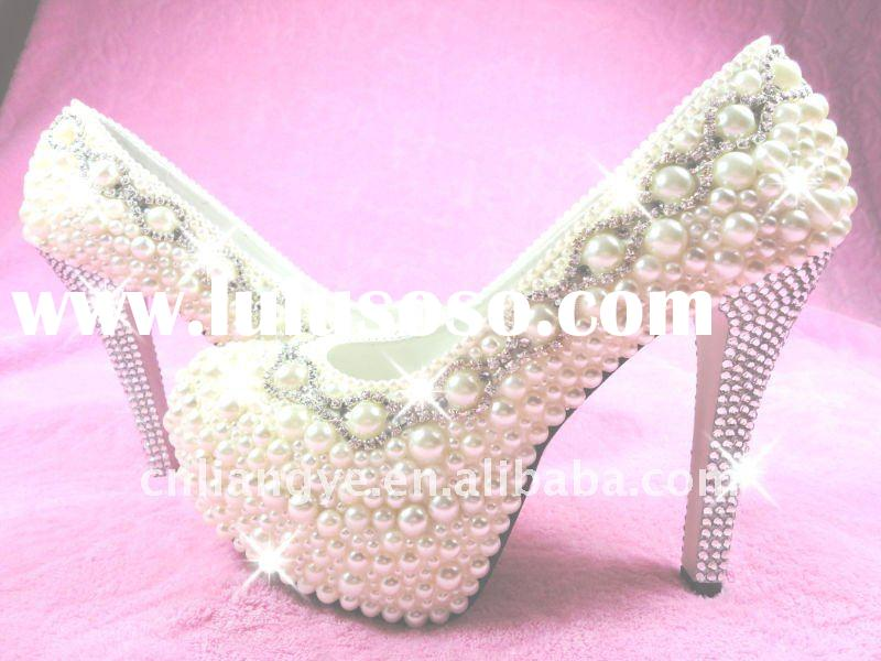 NEW WEDDING SHOES BRIDAL HIGH HEELS SWAROVSKI CRYSTAL & PEARL/BIRTHDAY/FORMAL/DRESS SHOES