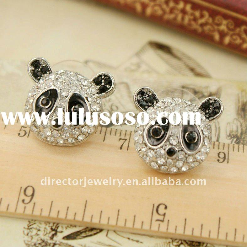 New coming fashion costume jewelry voque cute animal design panda stud earring 2012