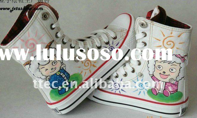 New style hand painted high cut rubber canvas shoes