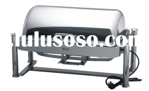 Oblong chafing dish hotel equipment with roll-top lid and Romanesque legs