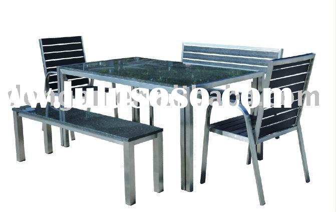 Practical stainless steel outdoor furniture table chair bench garden set patio set SST-T05,SST-B06,S