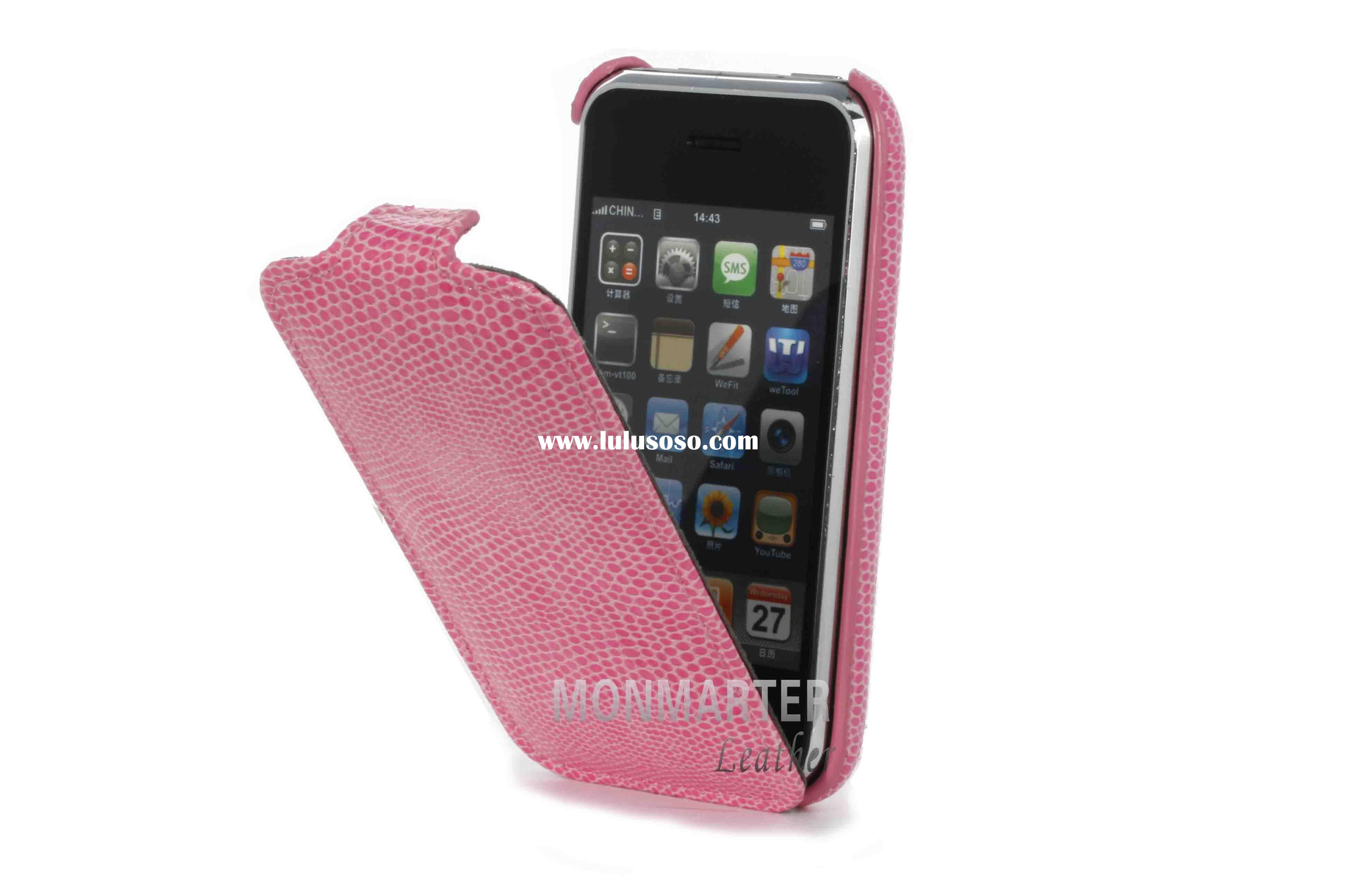Snakeskin Pattern Pink Leather CLAM Case For iPhone 3GS/3G
