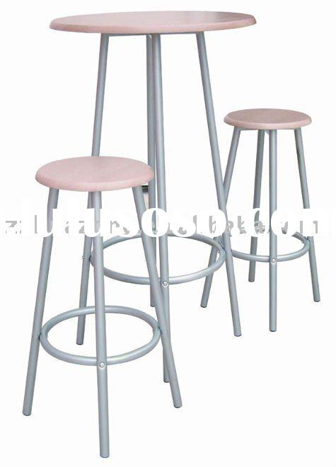 Stainless steel bar table and two stools