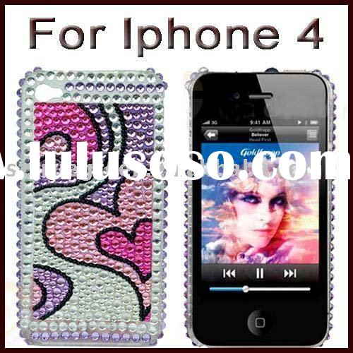 Sweet Hearts Bling Diamond Sna-on Cover Case for Apple iPhone 4 4G