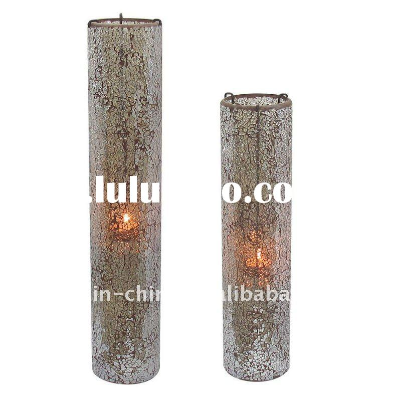 Tall Mosaic Glass Vases With Hanging Candle Holder For Home Decoration