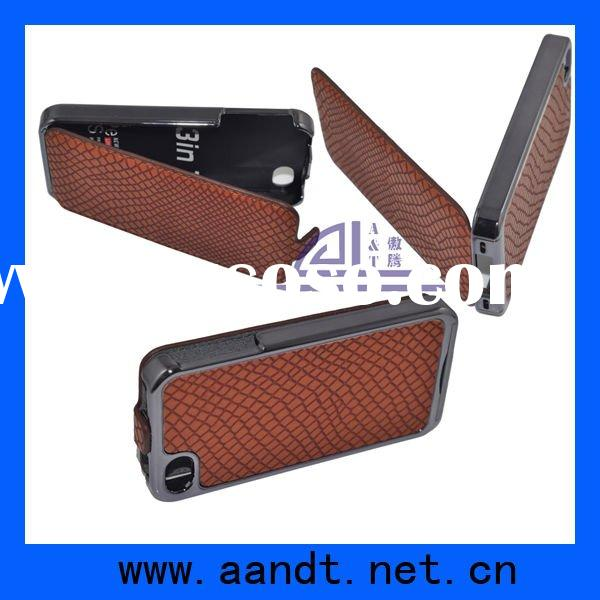 Tan Grid Pattern Leather Flip Case Cover Pouch for iPhone 4