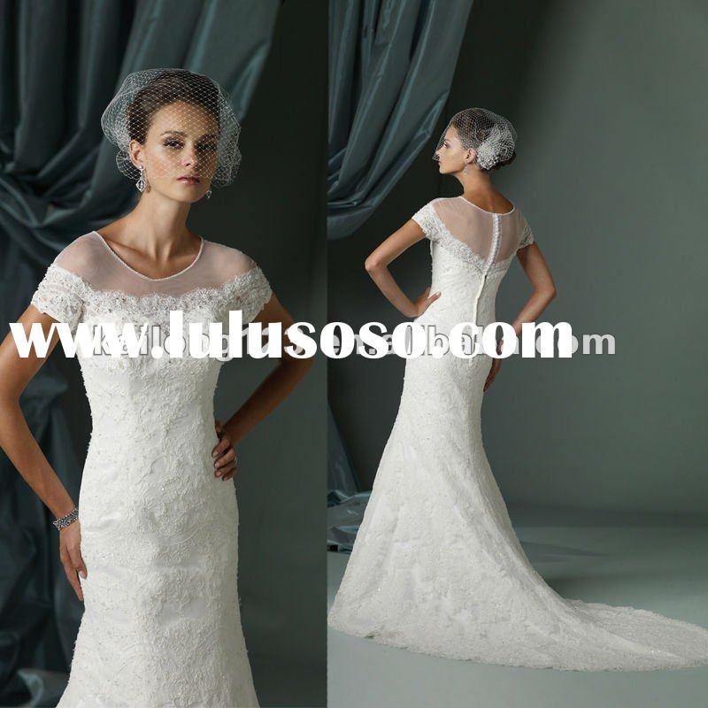 Unique Design Sheer Jewel Short Sleeves Lace A-line Wedding Gown