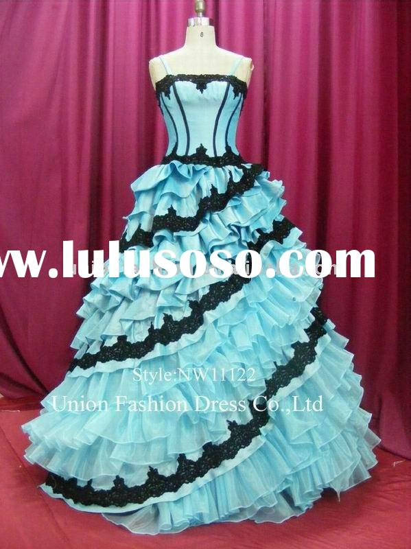 Royal wedding dress with magic lace in blue wonderland nw
