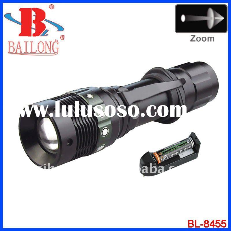 Zoom led rechargeable flashlight/torch