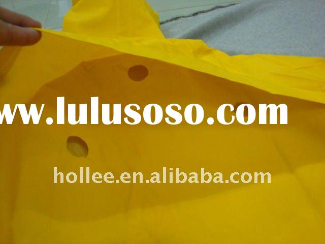 adult two pocket yellow pvc polyester raincoat