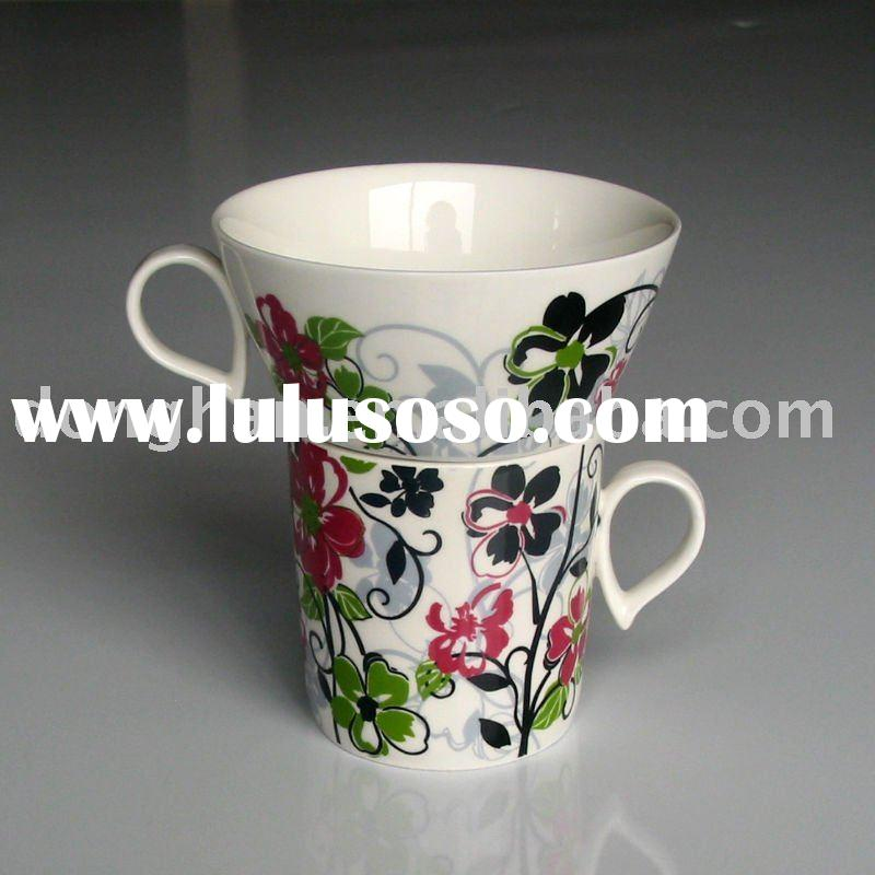 beauty decal ceramic stacking coffee mugs for gift