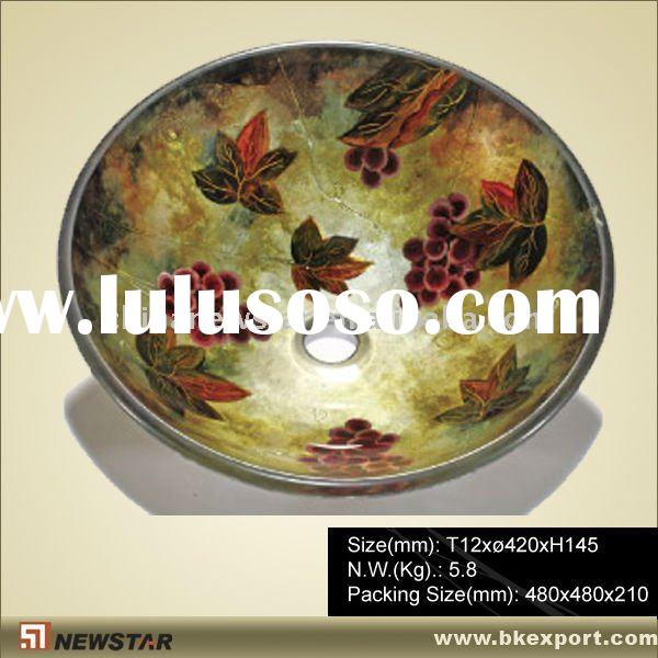 flower heat-treated glass bathroom sink/basin