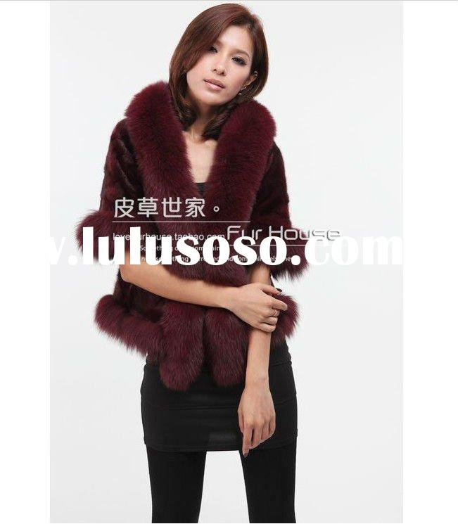 fox fur & mink fur cape/shawl,fur coat