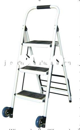 household steel 3 Step folding Ladder with wheel AP-1163L