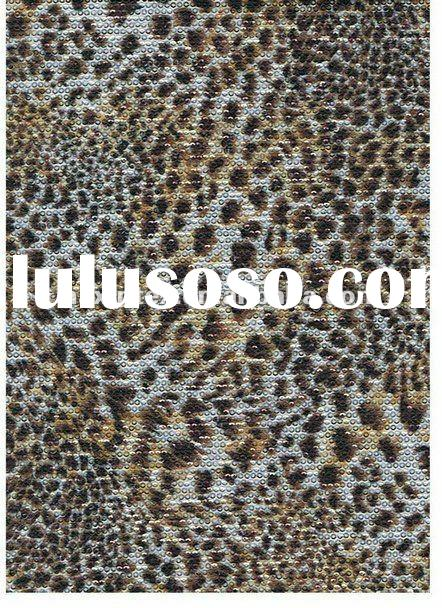 knitted fabric with 3mm animal printed sequin embroidery