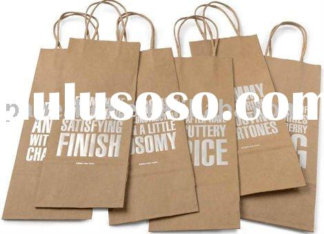 kraft wine paper bag with twisted handle in stamp white logo