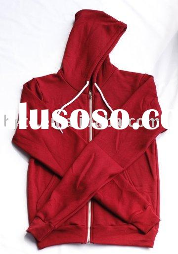 mens full zipper hooded sweatshirt/2012 blank high quality hoody