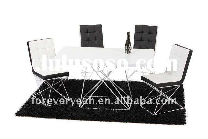 metal frame tempered glass white lacquer dining table