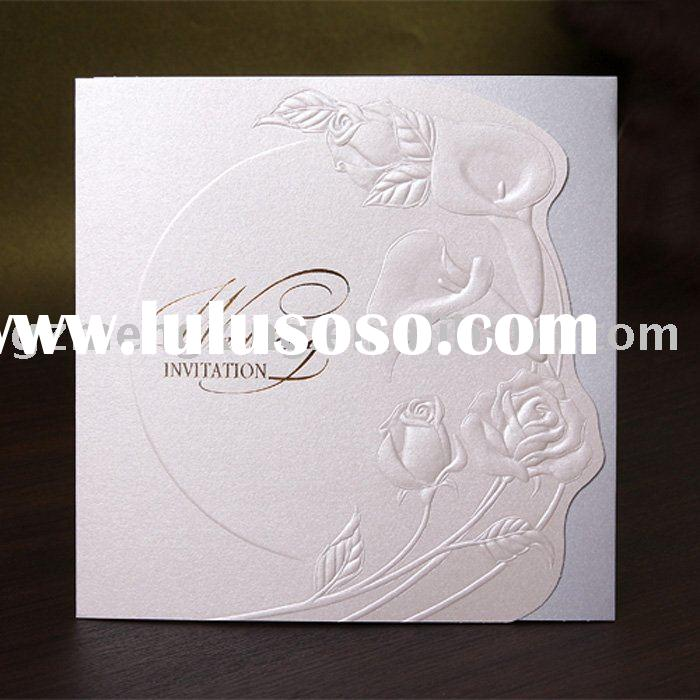 noble elegant wedding invitation cards with embossed flowers--W047