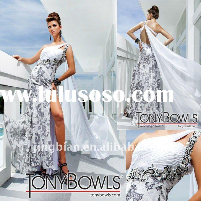 one shoulder evening dress 2011 with Hi-leg slit zuhair murad evening dresses SH1571