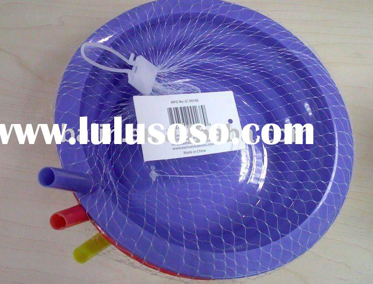plastic bowl with straw