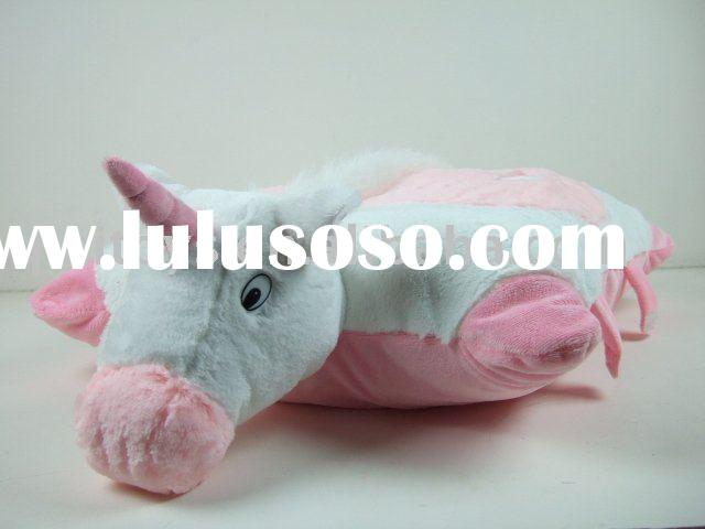 plush&stuffed unicorn cushion cover, soft animal kid's horse cushion toy, winter pillow