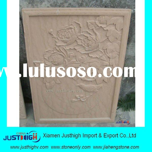 sandstone relief carving,embossment with bird and flower-peony