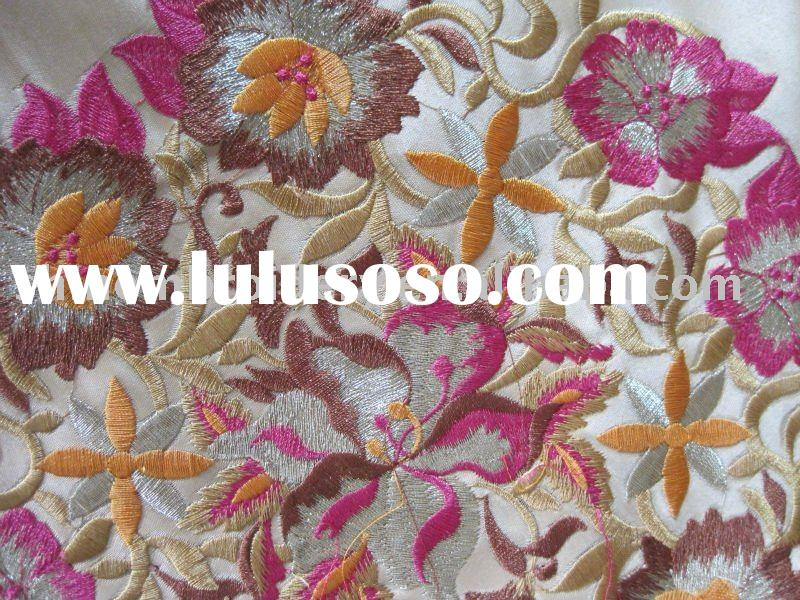 satin with multi color yarns heavy embroidery fabric design