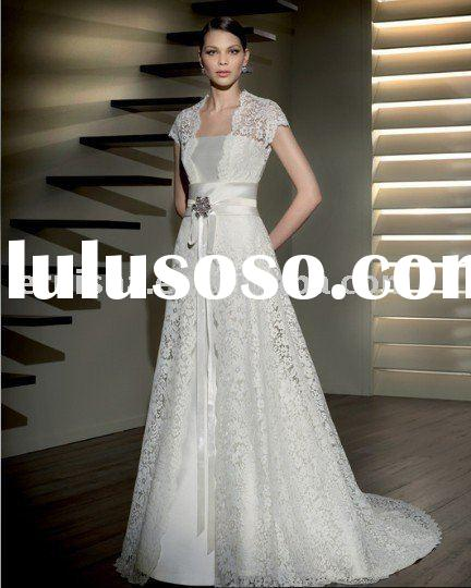 strappless with lace coat satin and lace wedding gown (HSE064)