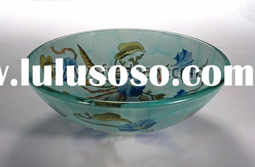 trumpet flower style Tempered Bathroom countertop Glass basin(FSE-GS-010186)