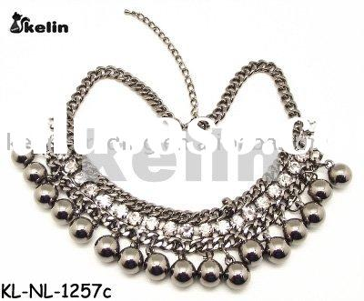 wholesale latest fashion gun silver alloy with beads rhinestone pendant necklace
