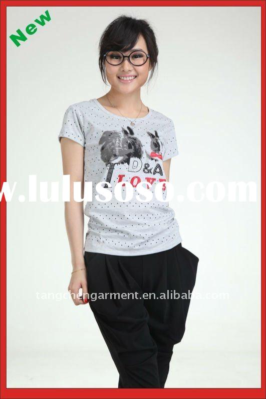 woman cotton plain white t-shirts with new design