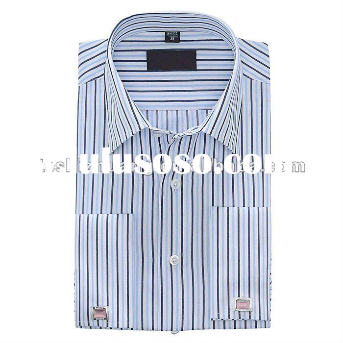 100% cotton white collar french cuff button long sleeve lining shirts for men