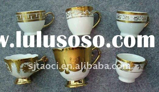 12pcs Gold plated porcelain cup and saucer,80cc coffee cup plates